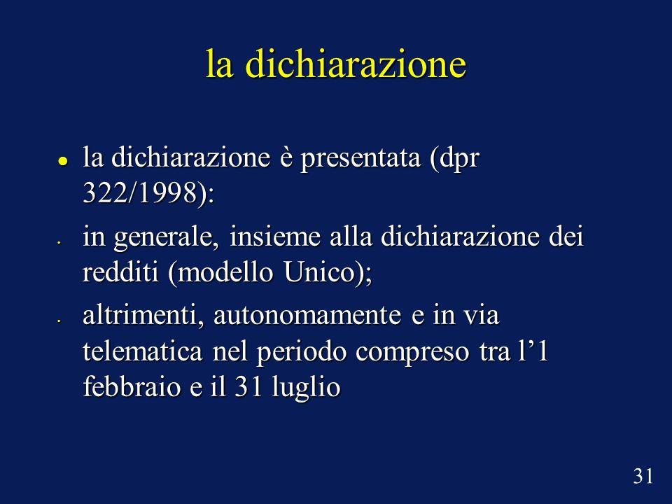 la dichiarazione la dichiarazione è presentata (dpr 322/1998): la dichiarazione è presentata (dpr 322/1998): in generale, insieme alla dichiarazione d