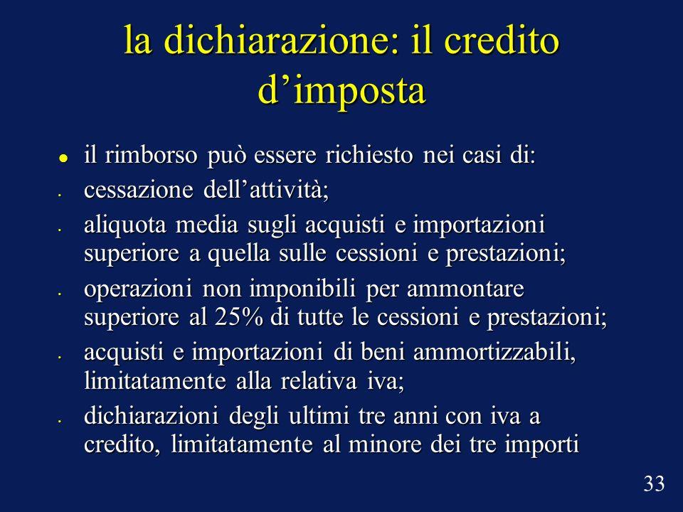 la dichiarazione: il credito dimposta il rimborso può essere richiesto nei casi di: il rimborso può essere richiesto nei casi di: cessazione dellattiv