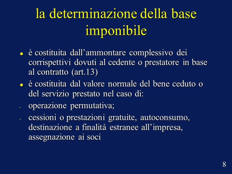 la determinazione della base imponibile è costituita dallammontare complessivo dei corrispettivi dovuti al cedente o prestatore in base al contratto (