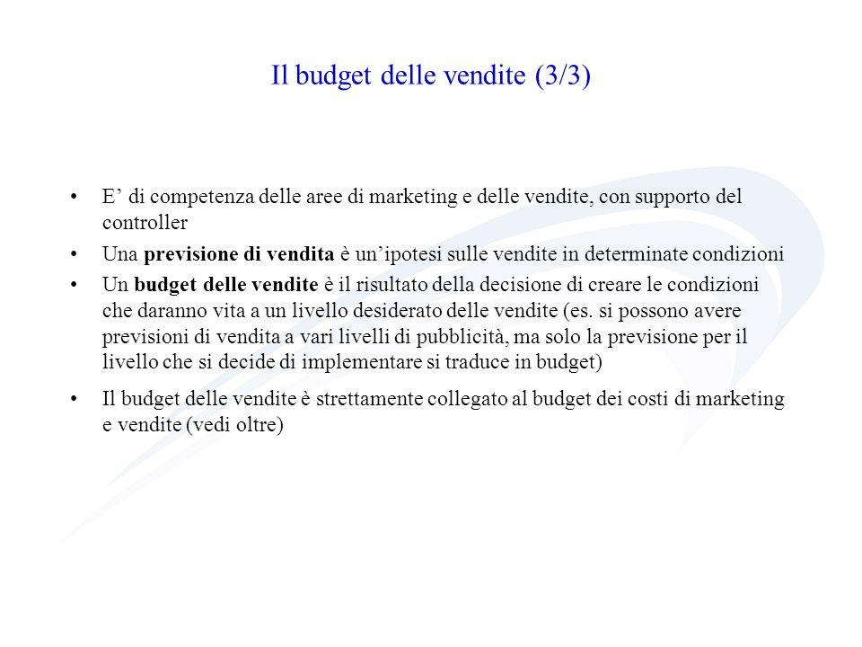 Il budget delle vendite (3/3) E di competenza delle aree di marketing e delle vendite, con supporto del controller Una previsione di vendita è unipote