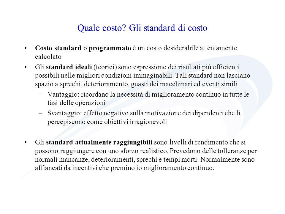 Quale costo? Gli standard di costo Costo standard o programmato è un costo desiderabile attentamente calcolato Gli standard ideali (teorici) sono espr