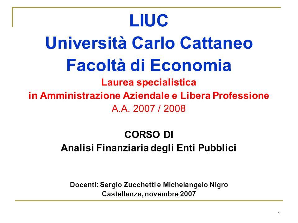 1 LIUC Università Carlo Cattaneo Facoltà di Economia Laurea specialistica in Amministrazione Aziendale e Libera Professione A.A. 2007 / 2008 CORSO DI