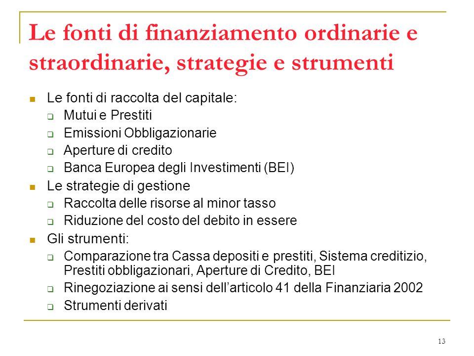 13 Le fonti di finanziamento ordinarie e straordinarie, strategie e strumenti Le fonti di raccolta del capitale: Mutui e Prestiti Emissioni Obbligazio