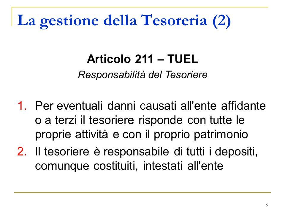 6 La gestione della Tesoreria (2) Articolo 211 – TUEL Responsabilità del Tesoriere 1.Per eventuali danni causati all'ente affidante o a terzi il tesor