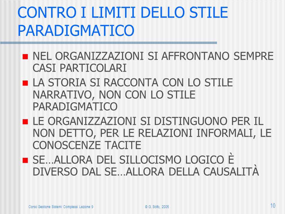 Corso Gestione Sistemi Complessi Lezione 9© G. Scifo, 2005 10 CONTRO I LIMITI DELLO STILE PARADIGMATICO NEL ORGANIZZAZIONI SI AFFRONTANO SEMPRE CASI P