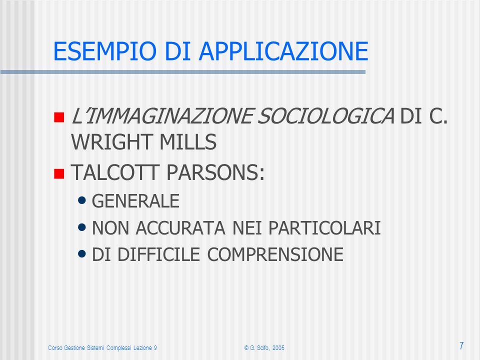 Corso Gestione Sistemi Complessi Lezione 9© G. Scifo, 2005 7 ESEMPIO DI APPLICAZIONE LIMMAGINAZIONE SOCIOLOGICA DI C. WRIGHT MILLS TALCOTT PARSONS: GE