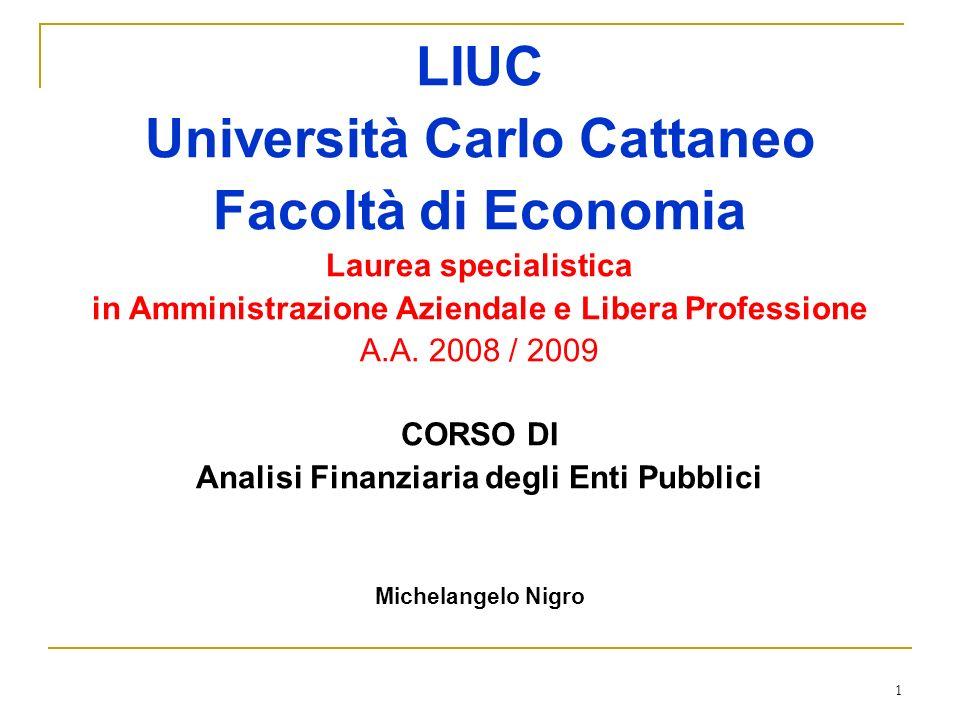 1 LIUC Università Carlo Cattaneo Facoltà di Economia Laurea specialistica in Amministrazione Aziendale e Libera Professione A.A. 2008 / 2009 CORSO DI