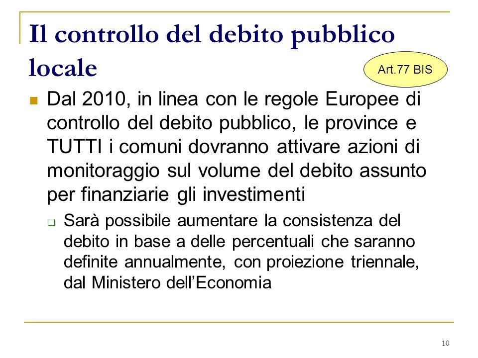 10 Il controllo del debito pubblico locale Dal 2010, in linea con le regole Europee di controllo del debito pubblico, le province e TUTTI i comuni dov