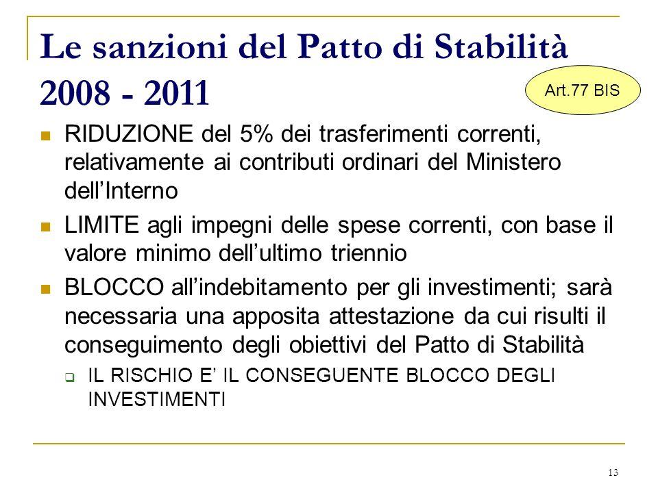 13 Le sanzioni del Patto di Stabilità 2008 - 2011 RIDUZIONE del 5% dei trasferimenti correnti, relativamente ai contributi ordinari del Ministero dell