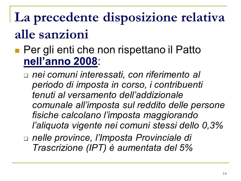14 La precedente disposizione relativa alle sanzioni Per gli enti che non rispettano il Patto nellanno 2008: nei comuni interessati, con riferimento a