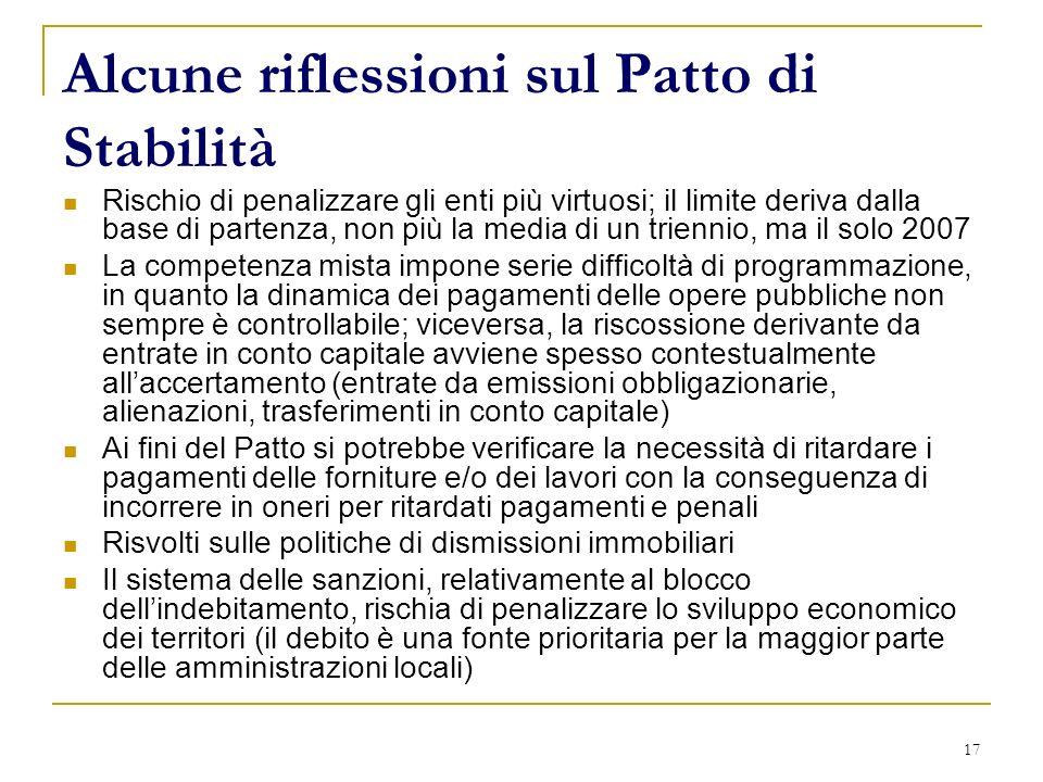 17 Alcune riflessioni sul Patto di Stabilità Rischio di penalizzare gli enti più virtuosi; il limite deriva dalla base di partenza, non più la media d