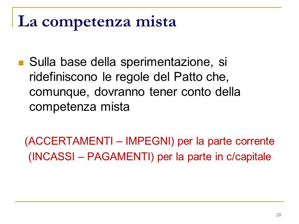 20 La competenza mista Sulla base della sperimentazione, si ridefiniscono le regole del Patto che, comunque, dovranno tener conto della competenza mista (ACCERTAMENTI – IMPEGNI) per la parte corrente (INCASSI – PAGAMENTI) per la parte in c/capitale