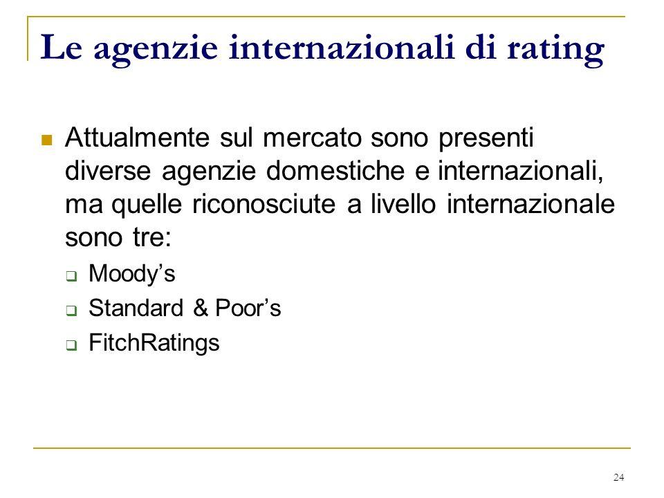 24 Le agenzie internazionali di rating Attualmente sul mercato sono presenti diverse agenzie domestiche e internazionali, ma quelle riconosciute a livello internazionale sono tre: Moodys Standard & Poors FitchRatings