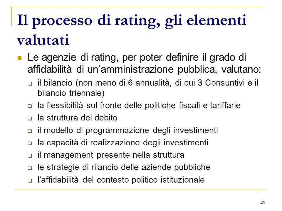 26 Il processo di rating, gli elementi valutati Le agenzie di rating, per poter definire il grado di affidabilità di unamministrazione pubblica, valut