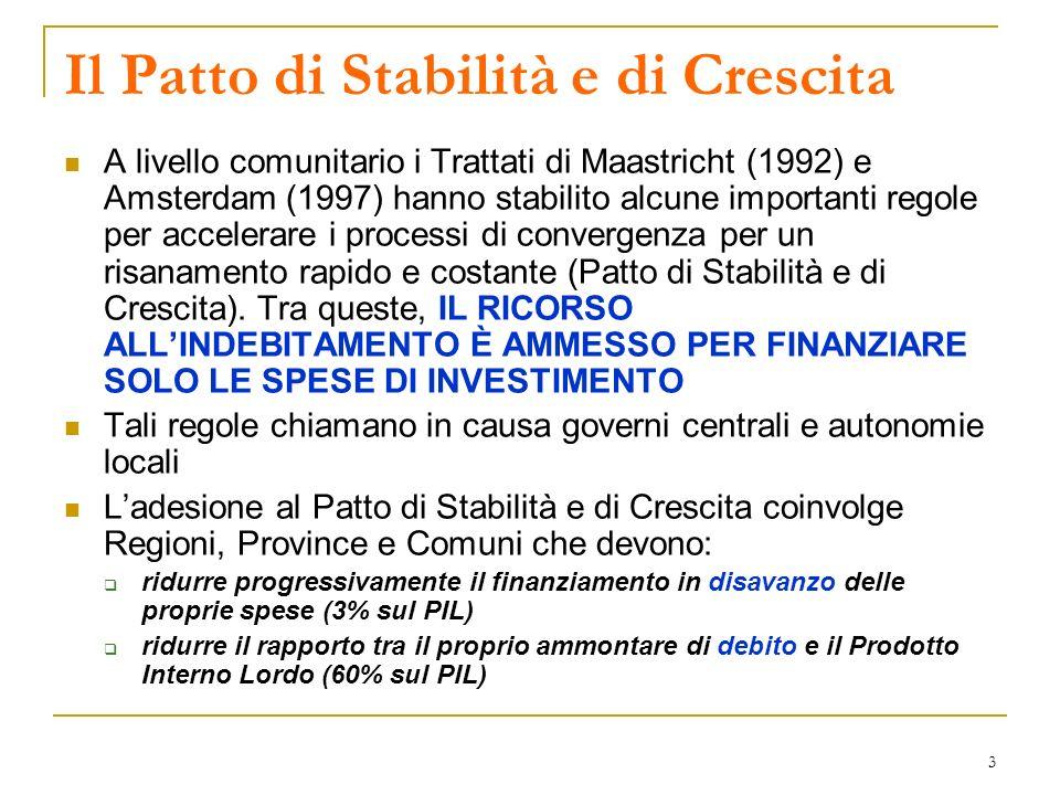 3 Il Patto di Stabilità e di Crescita A livello comunitario i Trattati di Maastricht (1992) e Amsterdam (1997) hanno stabilito alcune importanti regole per accelerare i processi di convergenza per un risanamento rapido e costante (Patto di Stabilità e di Crescita).