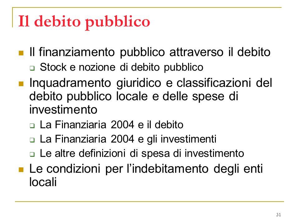 31 Il debito pubblico Il finanziamento pubblico attraverso il debito Stock e nozione di debito pubblico Inquadramento giuridico e classificazioni del debito pubblico locale e delle spese di investimento La Finanziaria 2004 e il debito La Finanziaria 2004 e gli investimenti Le altre definizioni di spesa di investimento Le condizioni per lindebitamento degli enti locali