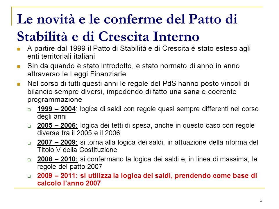 5 Le novità e le conferme del Patto di Stabilità e di Crescita Interno A partire dal 1999 il Patto di Stabilità e di Crescita è stato esteso agli enti
