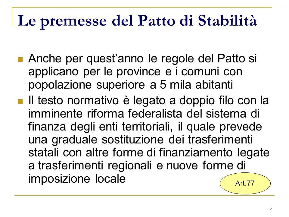 6 Le premesse del Patto di Stabilità Anche per questanno le regole del Patto si applicano per le province e i comuni con popolazione superiore a 5 mil