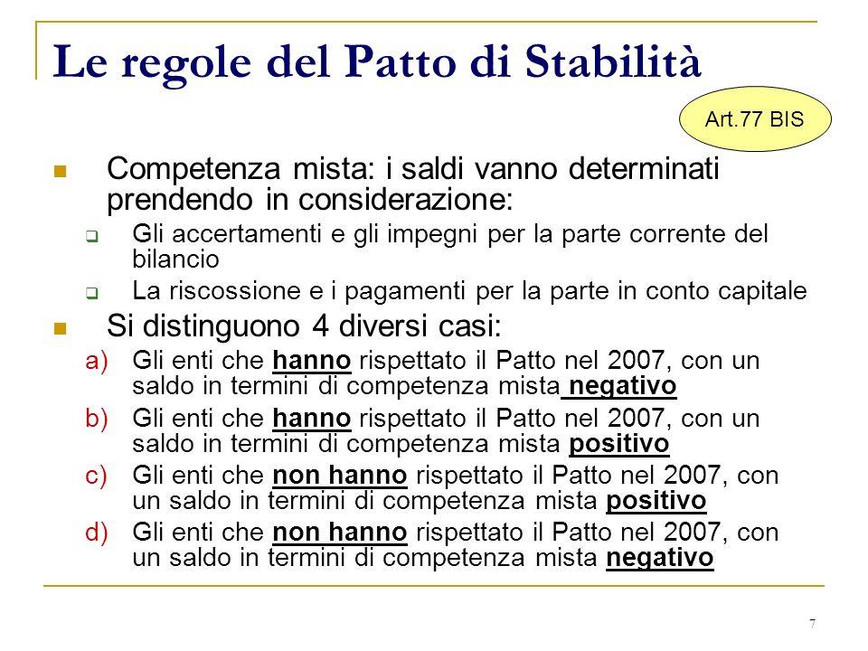 7 Le regole del Patto di Stabilità Competenza mista: i saldi vanno determinati prendendo in considerazione: Gli accertamenti e gli impegni per la parte corrente del bilancio La riscossione e i pagamenti per la parte in conto capitale Si distinguono 4 diversi casi: a)Gli enti che hanno rispettato il Patto nel 2007, con un saldo in termini di competenza mista negativo b)Gli enti che hanno rispettato il Patto nel 2007, con un saldo in termini di competenza mista positivo c)Gli enti che non hanno rispettato il Patto nel 2007, con un saldo in termini di competenza mista positivo d)Gli enti che non hanno rispettato il Patto nel 2007, con un saldo in termini di competenza mista negativo Art.77 BIS