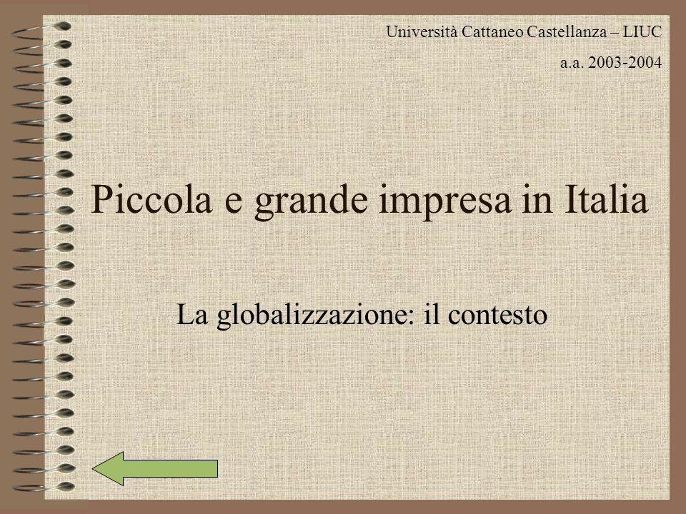 Piccola e grande impresa in Italia La globalizzazione: il contesto Università Cattaneo Castellanza – LIUC a.a. 2003-2004