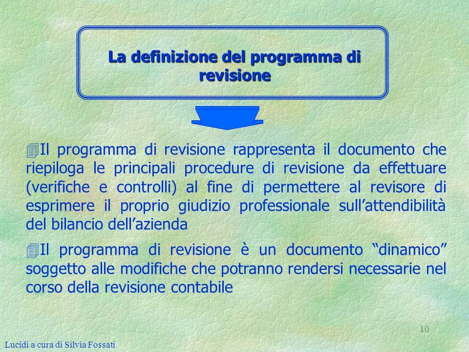 10 4 4Il programma di revisione rappresenta il documento che riepiloga le principali procedure di revisione da effettuare (verifiche e controlli) al f