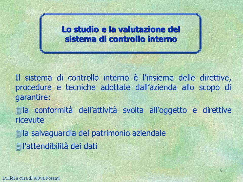 8 Il sistema di controllo interno è linsieme delle direttive, procedure e tecniche adottate dallazienda allo scopo di garantire: 4 4la conformità dell