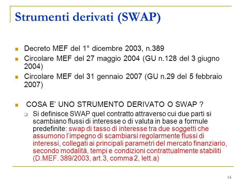 14 Strumenti derivati (SWAP) Decreto MEF del 1° dicembre 2003, n.389 Circolare MEF del 27 maggio 2004 (GU n.128 del 3 giugno 2004) Circolare MEF del 31 gennaio 2007 (GU n.29 del 5 febbraio 2007) COSA E UNO STRUMENTO DERIVATO O SWAP .