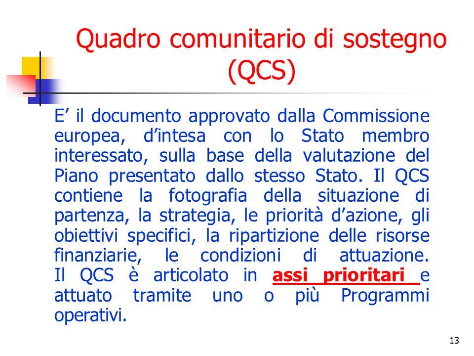 13 Quadro comunitario di sostegno (QCS) E il documento approvato dalla Commissione europea, dintesa con lo Stato membro interessato, sulla base della valutazione del Piano presentato dallo stesso Stato.