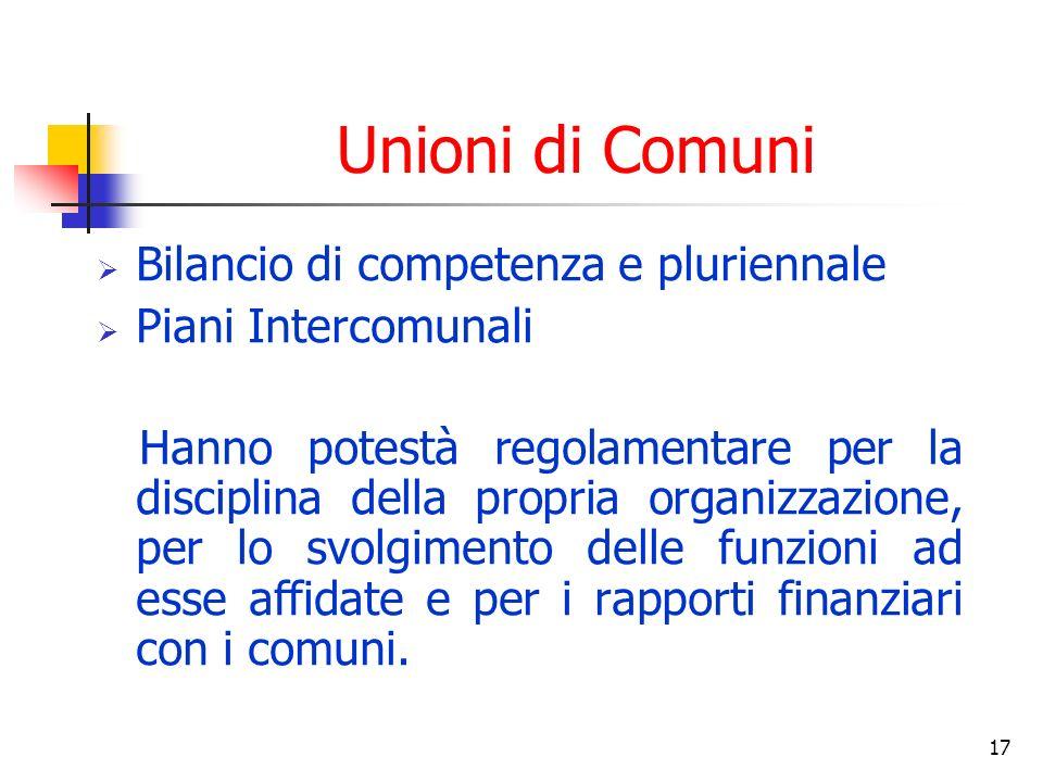 17 Unioni di Comuni Bilancio di competenza e pluriennale Piani Intercomunali Hanno potestà regolamentare per la disciplina della propria organizzazione, per lo svolgimento delle funzioni ad esse affidate e per i rapporti finanziari con i comuni.
