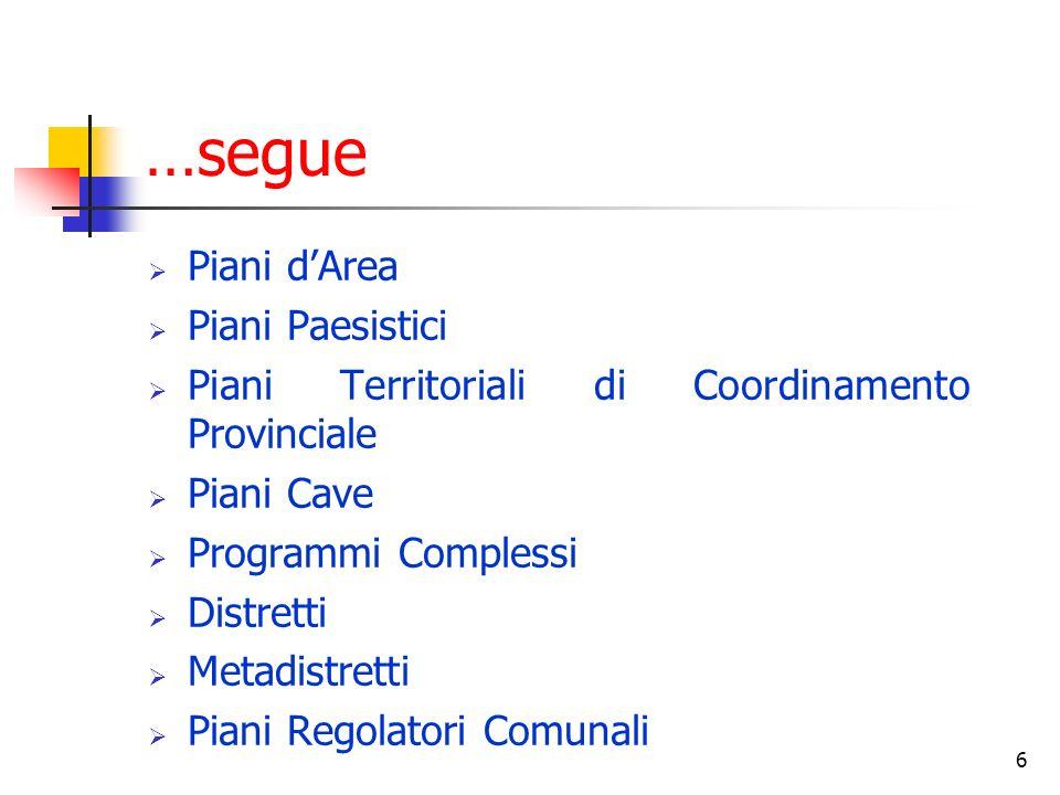 6 …segue Piani dArea Piani Paesistici Piani Territoriali di Coordinamento Provinciale Piani Cave Programmi Complessi Distretti Metadistretti Piani Regolatori Comunali