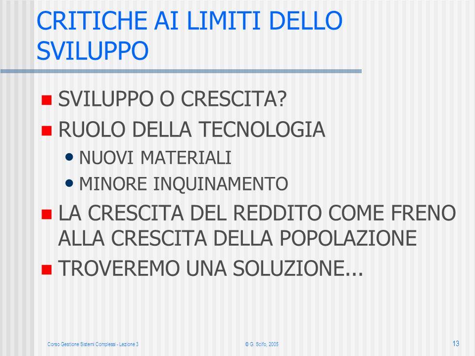 Corso Gestione Sistemi Complessi - Lezione 3© G. Scifo, 2005 13 SVILUPPO O CRESCITA.