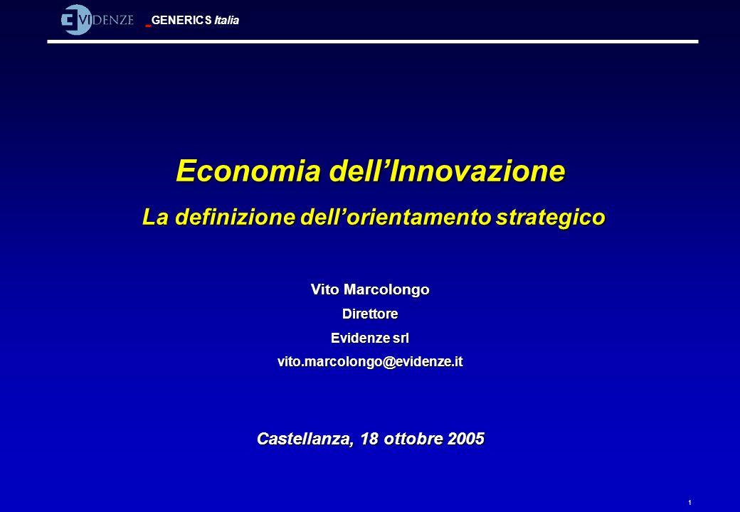 GENERICS Italia 1 Economia dellInnovazione La definizione dellorientamento strategico La definizione dellorientamento strategico Vito Marcolongo Diret