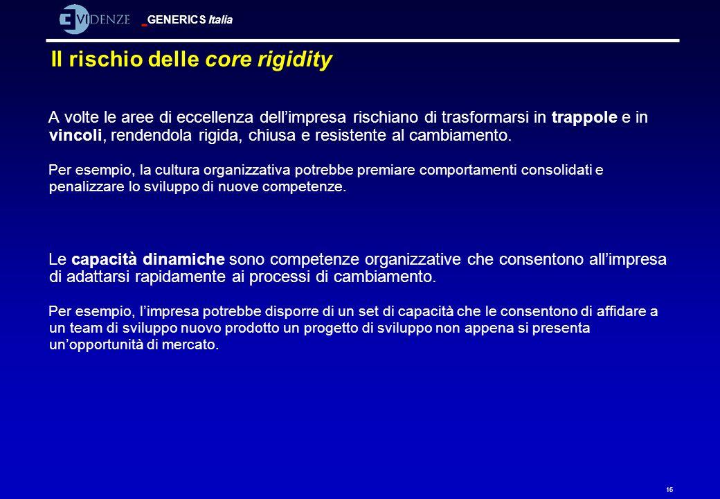 GENERICS Italia 16 Il rischio delle core rigidity A volte le aree di eccellenza dellimpresa rischiano di trasformarsi in trappole e in vincoli, renden