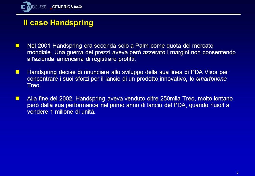GENERICS Italia 2 Il caso Handspring nNel 2001 Handspring era seconda solo a Palm come quota del mercato mondiale. Una guerra dei prezzi aveva però az