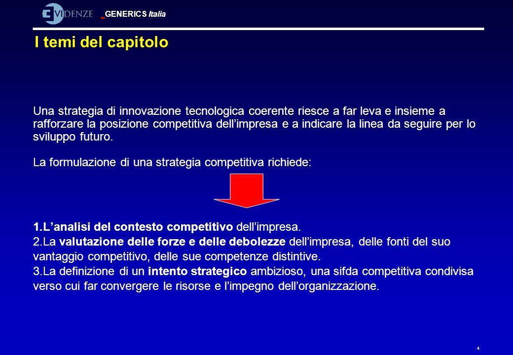 GENERICS Italia 4 Una strategia di innovazione tecnologica coerente riesce a far leva e insieme a rafforzare la posizione competitiva dellimpresa e a