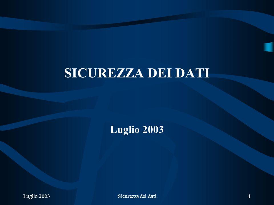 Luglio 2003Sicurezza dei dati1 SICUREZZA DEI DATI Luglio 2003