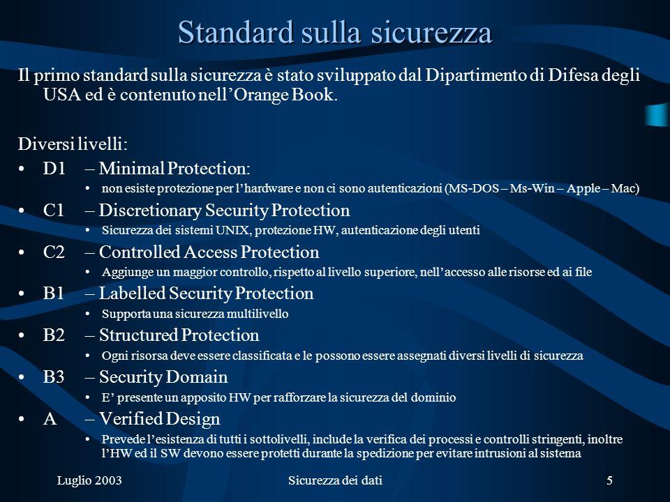 Luglio 2003Sicurezza dei dati5 Standard sulla sicurezza Il primo standard sulla sicurezza è stato sviluppato dal Dipartimento di Difesa degli USA ed è contenuto nellOrange Book.