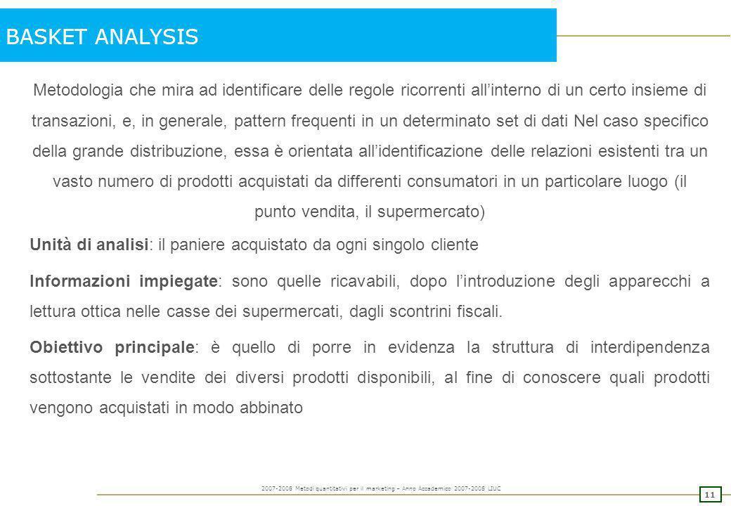 10 2007-2008 Metodi quantitativi per il marketing – Anno Accademico 2007-2008 LIUC IL POTENZIALE: un esempio di calcolo