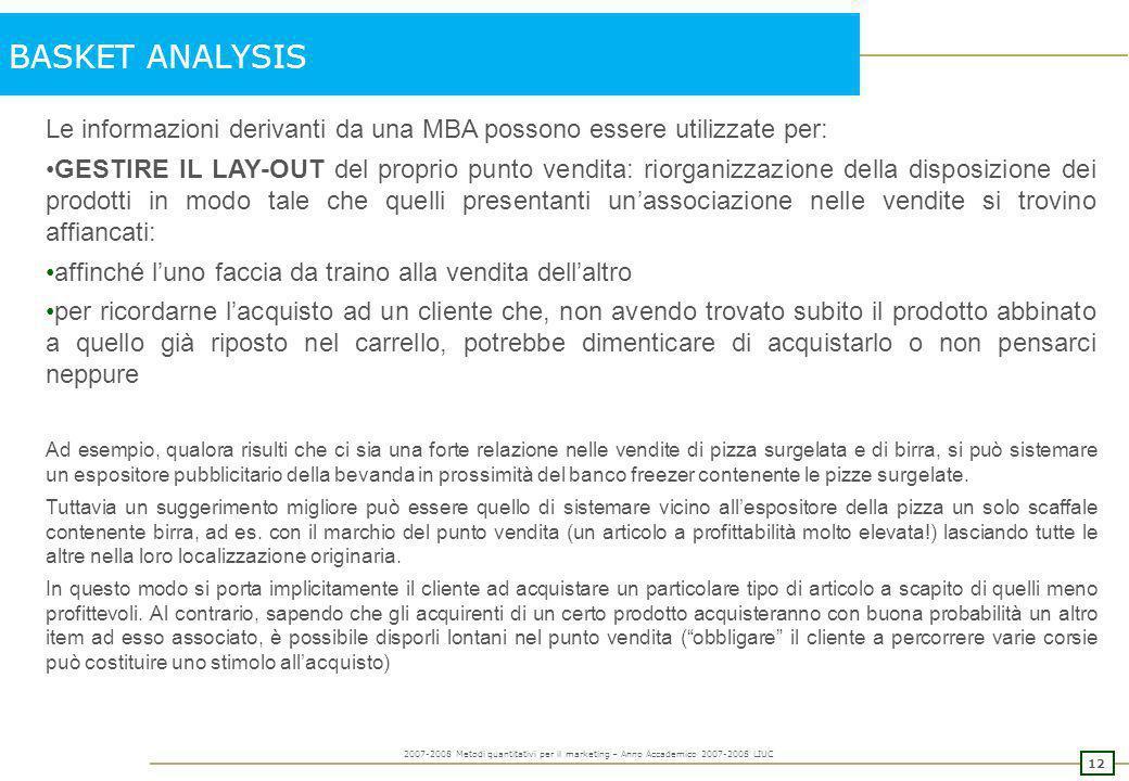 11 2007-2008 Metodi quantitativi per il marketing – Anno Accademico 2007-2008 LIUC BASKET ANALYSIS Metodologia che mira ad identificare delle regole r