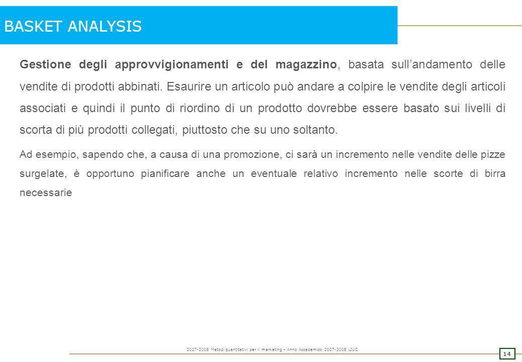 13 2007-2008 Metodi quantitativi per il marketing – Anno Accademico 2007-2008 LIUC BASKET ANALYSIS Programmare promozioni o campagne pubblicitarie: of