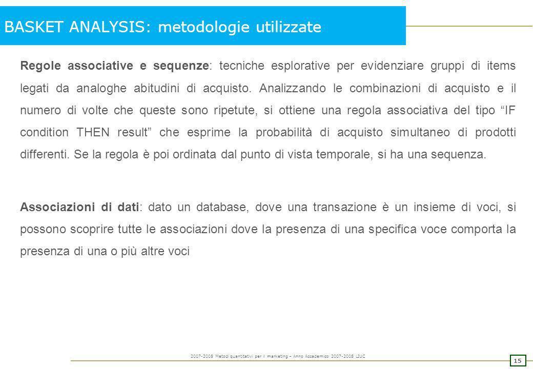 14 2007-2008 Metodi quantitativi per il marketing – Anno Accademico 2007-2008 LIUC BASKET ANALYSIS Gestione degli approvvigionamenti e del magazzino,