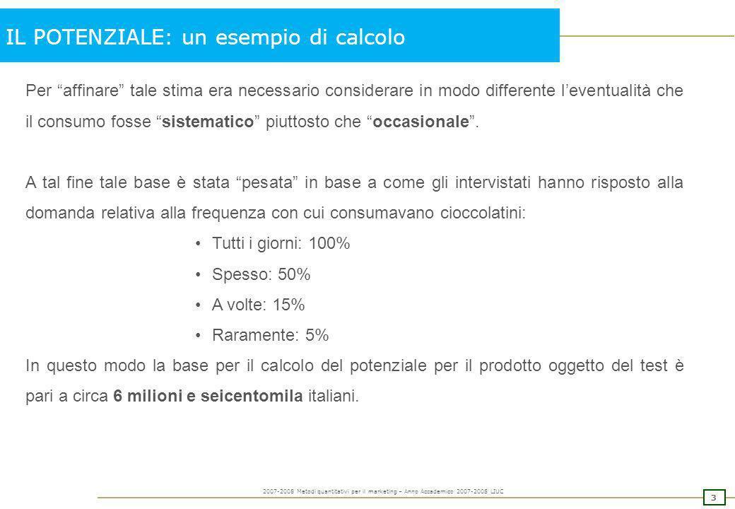 2 2007-2008 Metodi quantitativi per il marketing – Anno Accademico 2007-2008 LIUC IL POTENZIALE: un esempio di calcolo Stima del potenziale di consumo