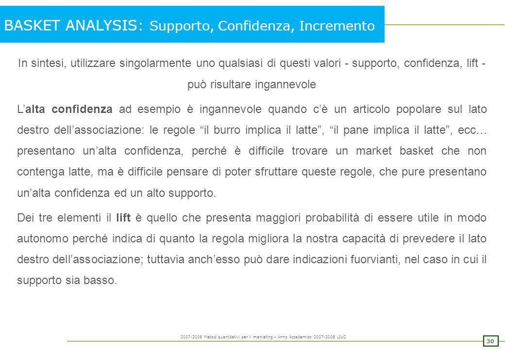 29 2007-2008 Metodi quantitativi per il marketing – Anno Accademico 2007-2008 LIUC BASKET ANALYSIS: Supporto, Confidenza, Incremento Esempio: Acquista
