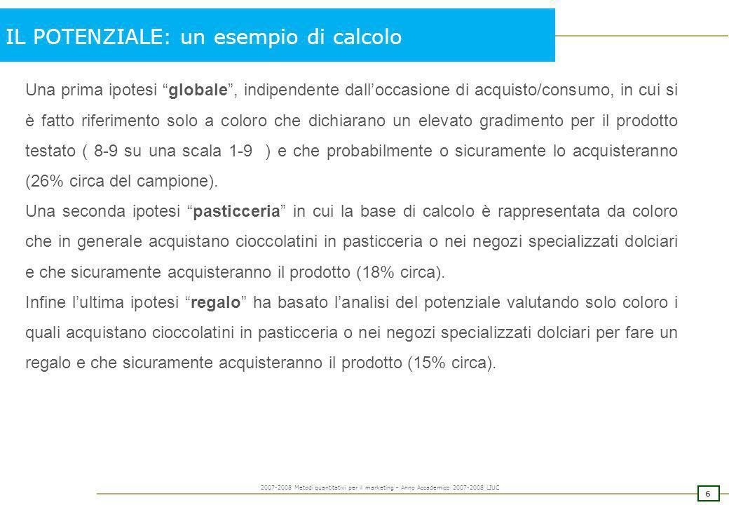 5 2007-2008 Metodi quantitativi per il marketing – Anno Accademico 2007-2008 LIUC IL POTENZIALE: un esempio di calcolo Tali percentuali, opportunament