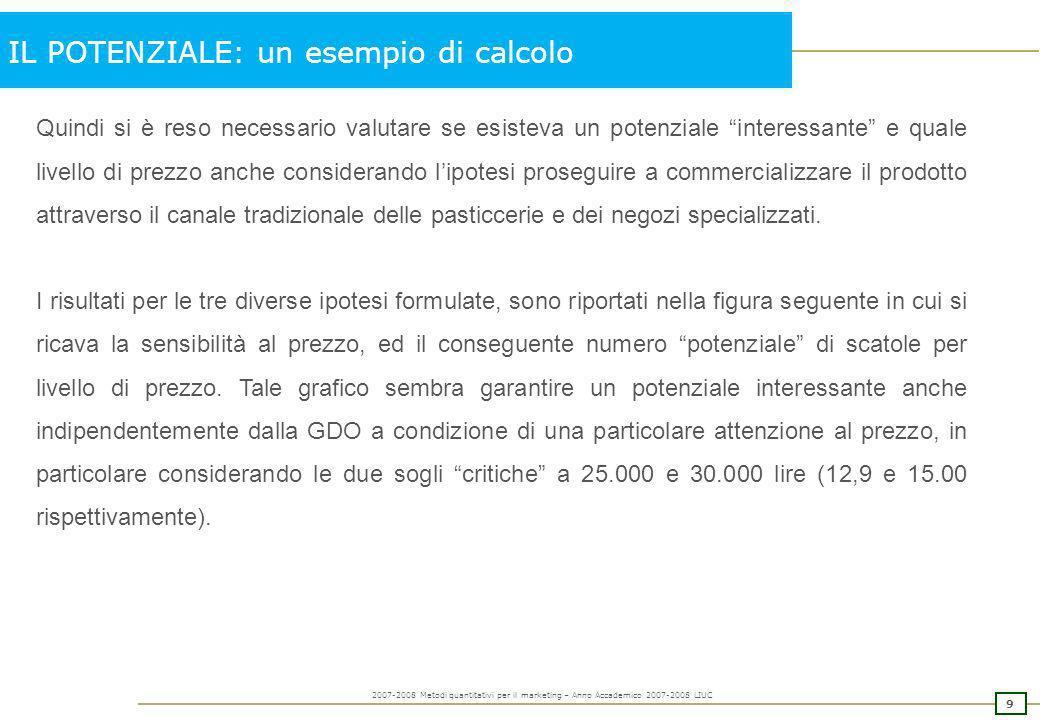 8 2007-2008 Metodi quantitativi per il marketing – Anno Accademico 2007-2008 LIUC IL POTENZIALE: un esempio di calcolo A questo punto, per una precisa