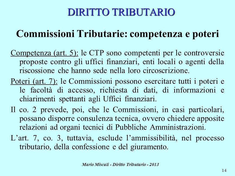 Mario Miscali - Diritto Tributario - 2013 14 DIRITTO TRIBUTARIO Commissioni Tributarie: competenza e poteri Competenza (art. 5): le CTP sono competent