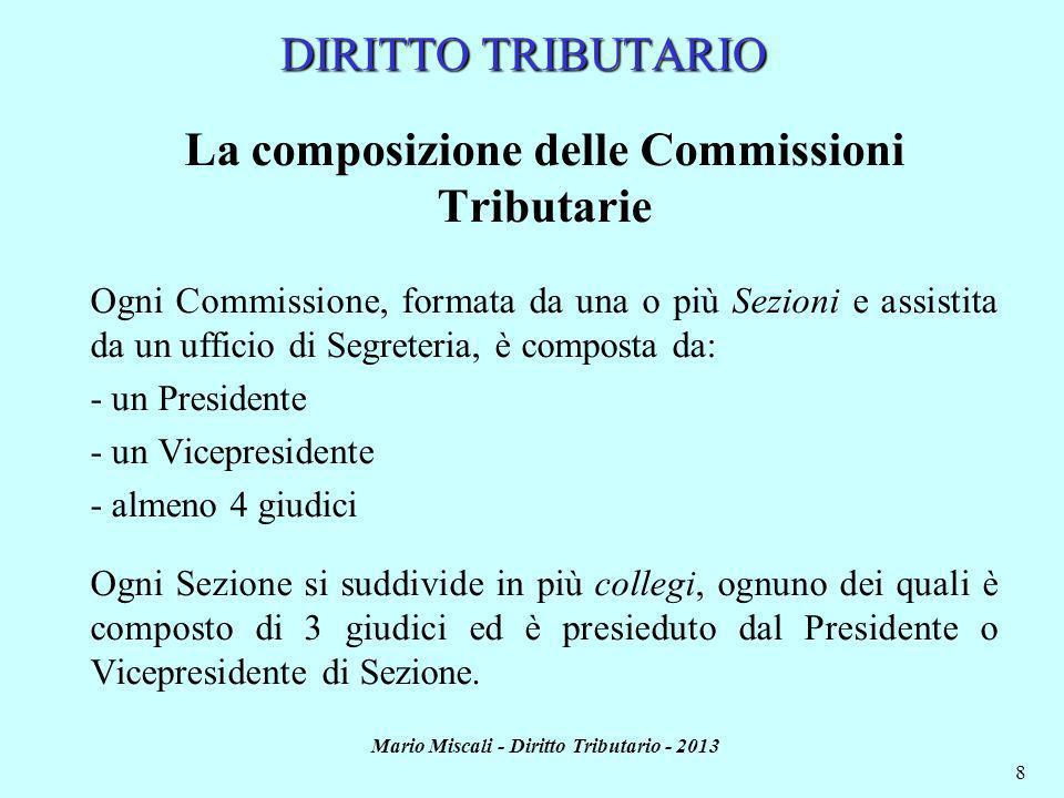 Mario Miscali - Diritto Tributario - 2013 9 DIRITTO TRIBUTARIO La composizione delle Commissioni Tributarie: i giudici I membri delle Commissioni Tributarie sono scelti dal Consiglio di Presidenza di Giustizia Tributaria e nominati con D.P.R., su proposta del Ministero delle Finanze.