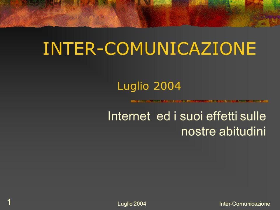 Luglio 2004Inter-Comunicazione 2 Internet Lavoro Comunicazione Informazione Divertimento Illimitatezza Immediatezza Gratuità Globalità USI CARATTERISTICHE