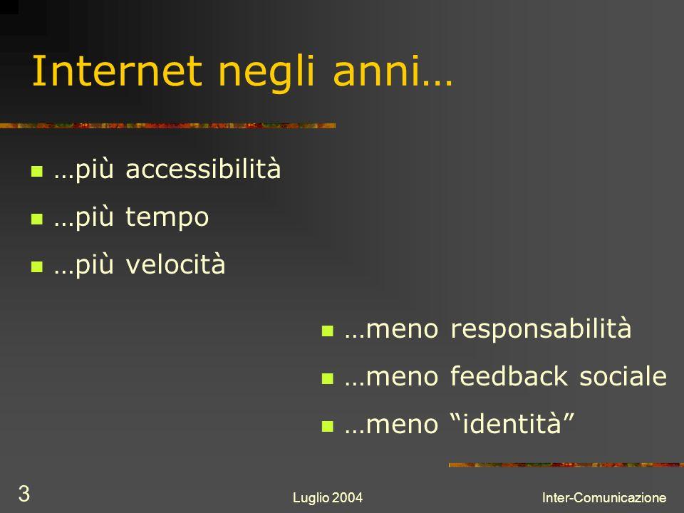 Luglio 2004Inter-Comunicazione 3 Internet negli anni… …più accessibilità …più tempo …più velocità …meno responsabilità …meno feedback sociale …meno identità