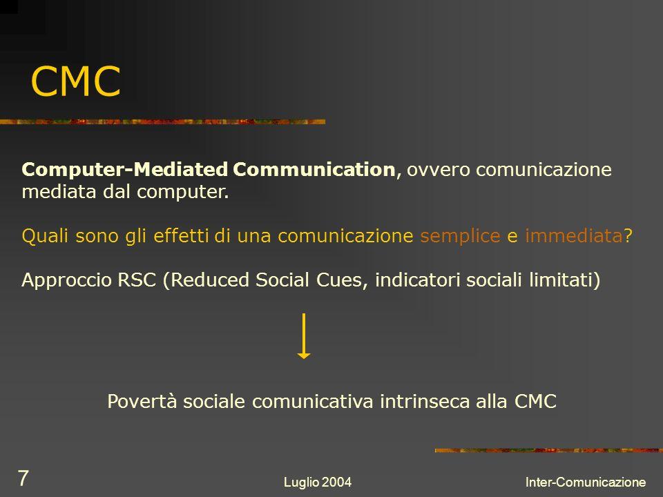 Luglio 2004Inter-Comunicazione 7 CMC Computer-Mediated Communication, ovvero comunicazione mediata dal computer.